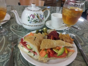 Antique Mall Tea RoomVegetable mosiac sandwich, with Relics antique Mall Tea Rooms' house Citrus Mango Iced Tea (Careful! It's addictive!) An entire whole beverage menu at Relics is devoted to the wide variety of hot tea available and served in pretty tea pots. Our current favorites in the hot teas are the Peach Ginger Detox diet aid tea and the Spiced Chai Tea