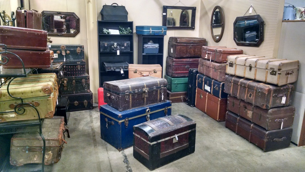 We have lots of trunks and vintage suitcases.