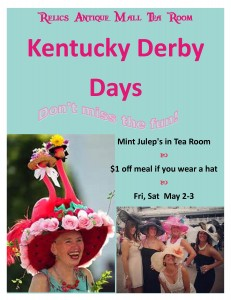 relics Antique Mall Tea Room Kentucky Derby Days Flyer JPEG