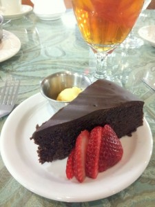 Fudgy Flourless Chocolate Torte at Relics Antique Mall Tea Room