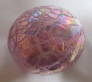 Levay studio, pink iridiscent large paperweight.