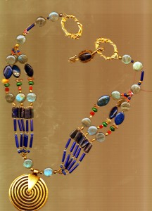 AAAAA31jpeg TURQUOISE N ECKLACE African Egyption inspiration wgold Earrings, 14KGF as the Clasp on Lapis Labradorite Creation Fair Trade Focal pendant018