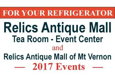 Relics 2017 Calendar of Events