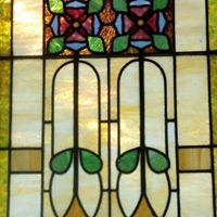 Relics Event Center Stained Glass back lit doors